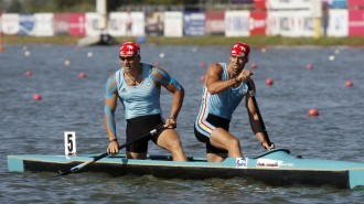 Dumitrescu-Lazar and Mihalachi of Romania celebrate their victory in men's C2 500m final during ICF Canoe and Kayak Sprint World Championships in Szeged