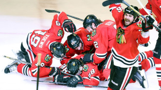 NC WEB BL LN   CHICAGO OUT The Chicago Blackhawks celebrate Patrick Kane's winning goal against the Los Angeles Kings in the second overtime period in Game 5 of the Western Conference Finals at the United Center in Chicago, Illinois, on Saturday, June 8, 2013. (Nuccio DiNuzzo/Chicago Tribune/MCT)