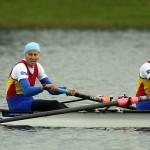 Echipajul feminin de dublu rame format din Cristina Grigoras si Laura Oprea castiga locul al doilea, la Campionatele Europene de canotaj de seniori de la Belgrad, in Serbia, duminica, 1 iunie 2014. ALEKSANDAR DJOROVIC / MEDIAFAX FOTO